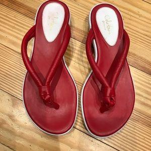 Cole Haan G Series RED FLIP FLOPS SZ 8.5